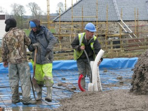 Pouring the house slab