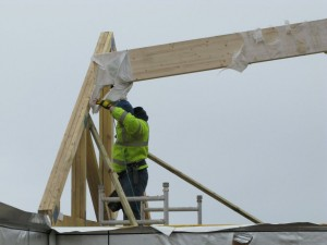 Getting the ridge beam into place