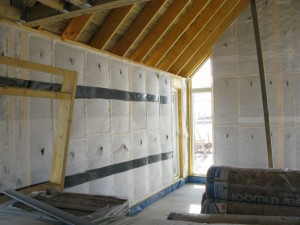 The finished Warmcel-filled living room wall.