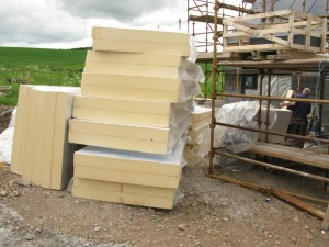 The stack of insulation ready for laying down.